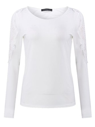 Women Casual Hollow Out Long Sleeve Blouse O-Neck Pure Color Tops
