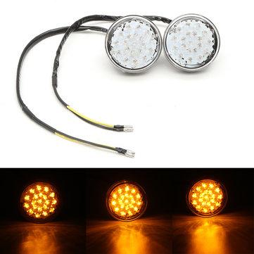 쌍 12V 유니버설 오토바이 자전거 라운드 LED 차례 신호 표시기 깜박이 불빛 램프