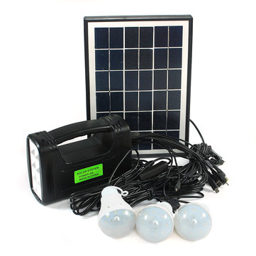 5W 9V LED Solar Lights System Outdoor Lantern Torch+Bulb+Panel+AC Adapter+USB Cable