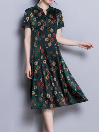 Vintage Floral Print V-neck Stand Collar Dress