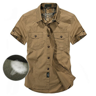 Outdoor Cotton Breathable Multi Pockets Cargo Short Sleeve Work Shirts for Men