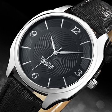 YAZOLE 417 Fashion Simple Leather Strap Quartz Men Watch