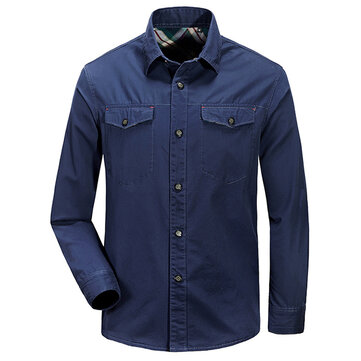 Hombre de algodón de doble bolsillo de color sólido de manga larga de trabajo casual Camisa