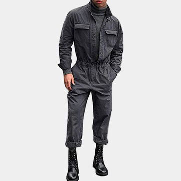 Mens Rompers Jumpsuit Pockets Coverall Drawstring One Piece
