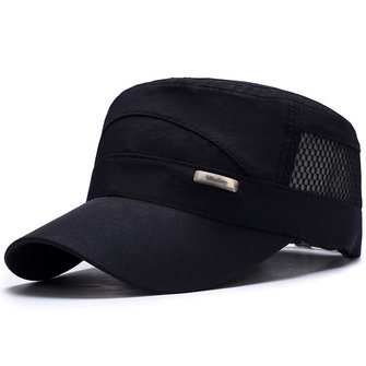 Hollow Out Patchwork Military Hat Adjustable Peaked Cap