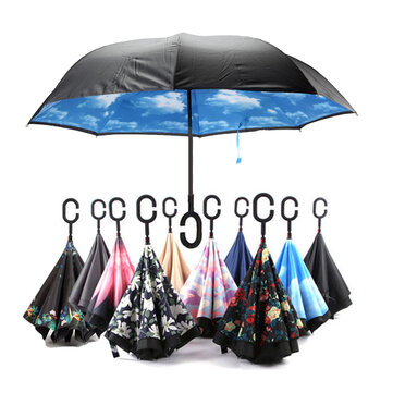 KCASA UB-2 Reverse Umbrella Flowers Creative Double Layers Upside Down Self Standing Car Rain Gear
