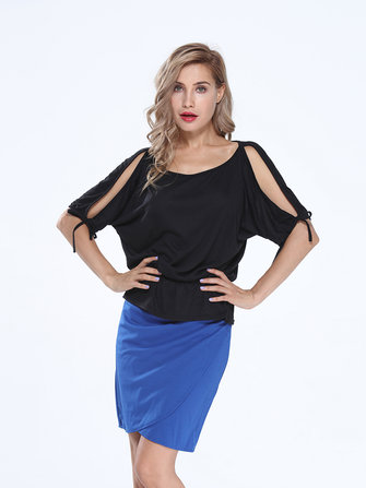 Women Off Shoulder Bat Sleeve Strap Loose T-shirt