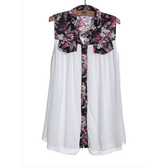 Women Fashion Loose Floral Chiffon Sleeveless Blouse