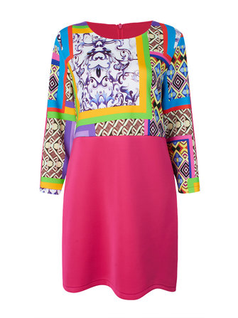 Plus Size Vintage Print Patchwork Long Sleeve Dress
