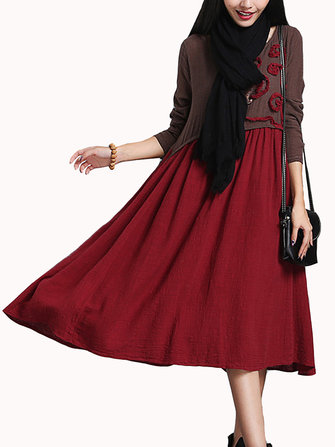 Vintage Women Printing Patchwork Long Sleeve Loose Dress