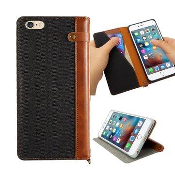 iPhone 6/6s için Plus 5,5 İnç Ketenli Deri Flip Üzerinde Cüzdan Kickstand Kılıf ile Kart Yuvası Kordon