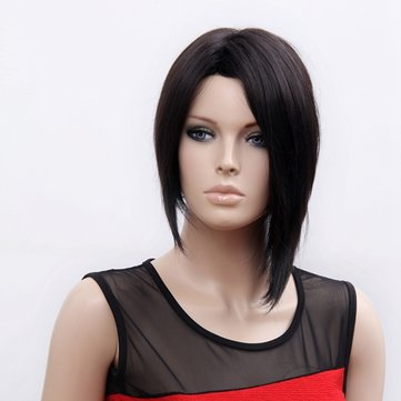 NAWOMI Unique Star Style 100% KANEKALON Synthetic Wig Middle Parted Black Straight
