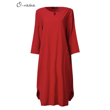 Women Casual Pure Color O-Neck Half Sleeve Dress