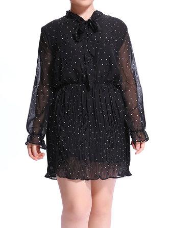 Women A-Line Long Sleeve Dot Chiffon Bowknot Collar Dress