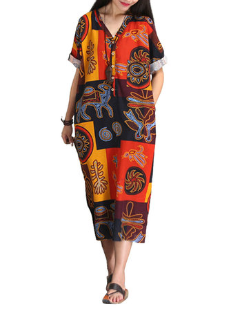 L-5XL Women Folk Style Printed V-Neck Straight Dress