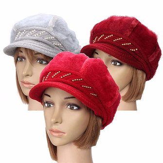 Women Ladies Beret Knitted Beanie Crochet Cap Braided Baggy All-match Stewardess Hat