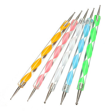 5Pcs 2 Ways Color Nail Art Dotting Marbleizing Paint Pen