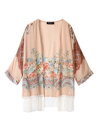 O-NEWE Casual Women Printed Tassels Long Sleeve Air Conditioning Cardigan