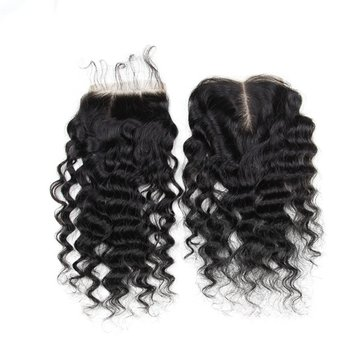 7A 4X4 Kinky Curly Virgin Hair Lace Closure Wave Chinese Human Hair Closures Free Middle Par