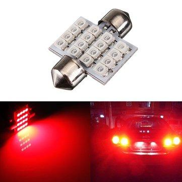 Red 1.25 31mm 16-SMD Festoon Dome Map Car LED Interior Light Bulbs
