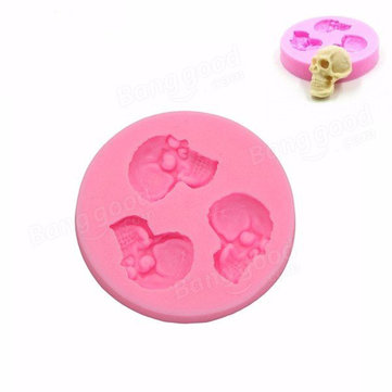 Skull Head Fondant Silicone Mould Skeleton Chocolate Mold Cake Decoration Tool