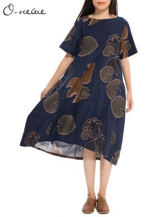 L-5XL Vintage Women Loose Goldfish Printing A-Line Midi Dres