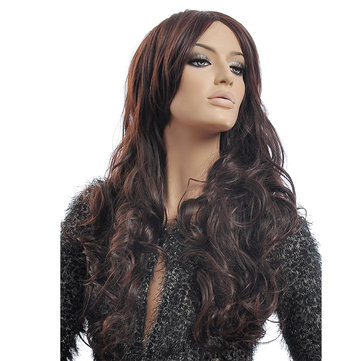 NAVIS Long Curly Matt High-Temperature Synthetic Fiber Hair Wavy Dark Brown Wig