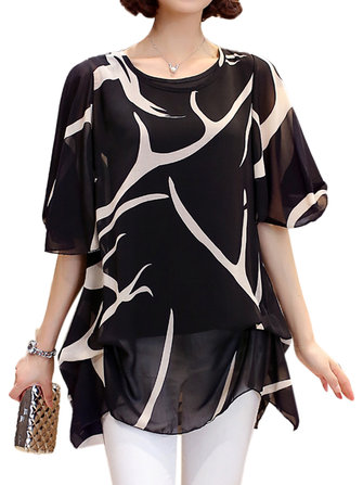 Elegant S-5XL Women Ruffle Sleeve Printed Chiffon Party Blouse