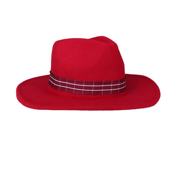 Women Ladies Vintage Wool Felt Flat Wide Brim Top Cap British Retro Hatband Jazz Hat