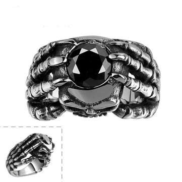 Vintage Punk 361L Steel Skull Head Claw Ring Men Jewelry