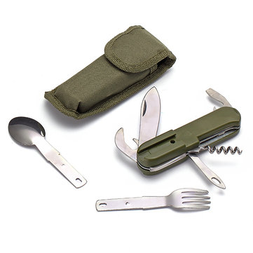 Outdooors Tableware Stainless Folding Camping Tool Multifunction Dinnerware