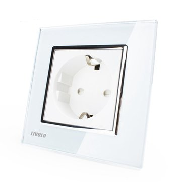 Livolo White Crystal Glass 16A Wall Power Socket VL-C7C1EU-11 AC110~250V