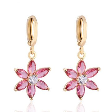 Kuniu Gold Plated Flower Zircon Dangle Hoop Ear Drop Earrings For Women