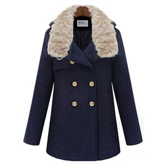 Double Breasted Faux Fur Collar British Style Tweed Overcoat