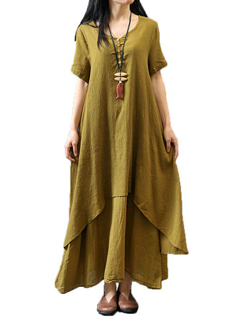 Elegant Women Vintage Solid Button Layer High Low Maxi Dress