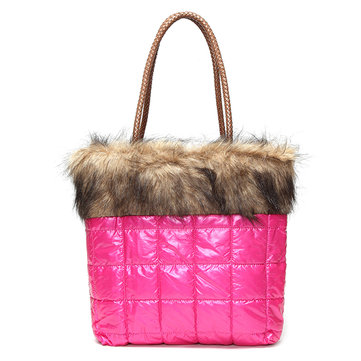 Women Winter Warm Down Tote Handbags Space Cotton Shoulder Bags Capacity Shopping Bags