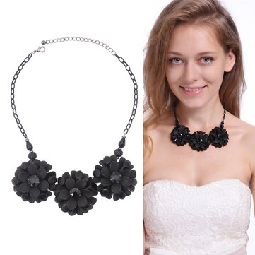 Black Multilayer Vintage Rhinestone Flower Necklace For Women