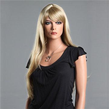NAWOMI Natural Soft 100% Kanekalon Synthetic Hair Wig Long Straight Side Bang Capless Elegant