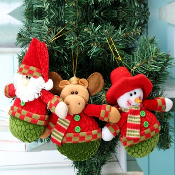 Christmas Xmas Tree Hanging Decoration Santa Clau Snowman Elk Hanging Doll Decoration