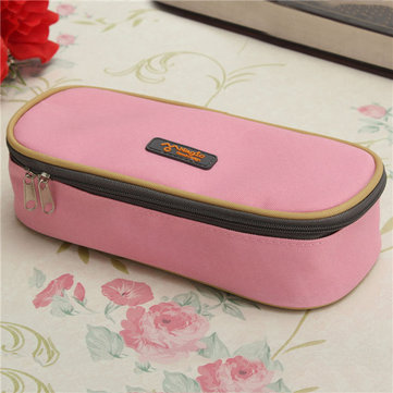 Large Capacity Canvas Zipper Pencil Case Pen Cosmetic Bag