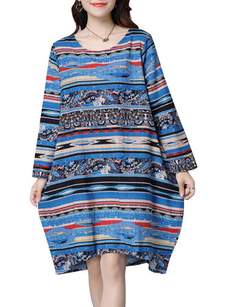 Vintage Geometric Printed O-Neck Long Sleeve Dress For Women