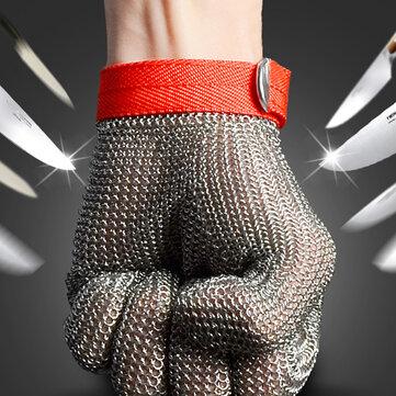 Desconexión de seguridad a prueba de arma blanca de malla metálica de acero inoxidable resistente al tamaño de carnicero guante m