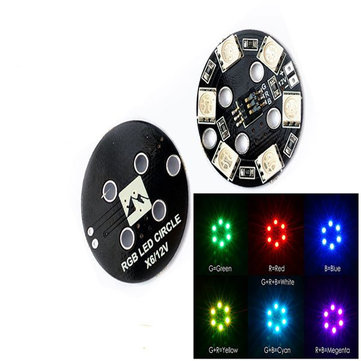 Matek RGB5050 LED X6 12V Rounded Lamp Plate 7 Colors For RC Multirotor Drone FPV Racing