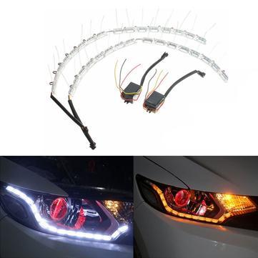 2pcs LED Headlight Flexible Strip Light Tear Eye Turn Switchback Lamp White Amber