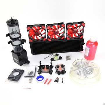 PC Liquid Cooling 360 Radiator Kit Pump 220mm Reservoir CPU GPU Heat Sink-RED