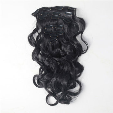 7Pcs NAWOMI Body Wave Heat Resistant Friendly Clip In Synthetic Hair Extension 21.65 Inch #2 Black