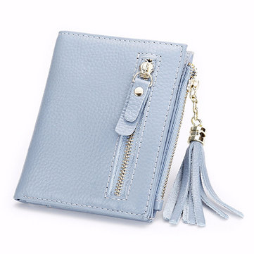 Women Genuine Leather Wallet Vintage Tassel Mini Short Bifold Purse