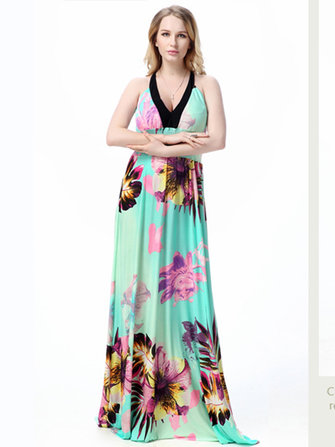 Sexy Women Deep V-neck Halter Floral Print Backless Bohemian Maxi Dress