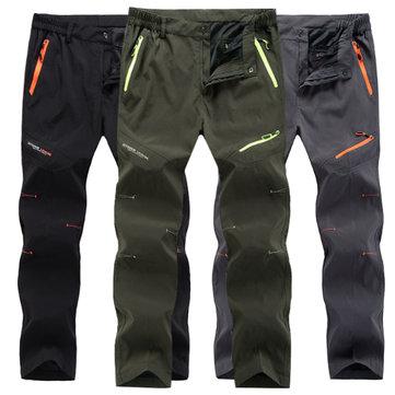 Waterproof Hiking Straight Leg Sport Pants Mens Outdoor Quick Drying Zipper Pockets Trousers