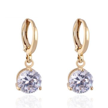 Kuniu Waterdrop Cubic Zircon Crystal Hoop Dangle Drop Earrings